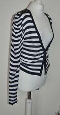 Oui Ladies Navy White Cardigan Knitwear Sweater UK 12 100% Viscose BNWOT