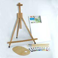 "Set 28"" 2ft Wooden Easel Acrylic Oil Watercolour Paints Brushes Wooden Palette"