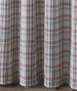 "Gray, Red, White Plaid ""Farm Yard"" Fabric Shower Curtain by Park Designs"