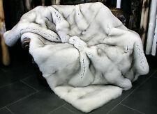 365 Blue Fox Fur Blanket - SAGA Quality Real Fur Rug Genuine Bluefox Fur Blanket