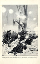 Officier allemand avec sabre et revolver dans le combat rapproché (1870) Art de pression v.1898