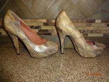 "Womens Vince Camuto ""Korsi"" Sz 8B/38 Leather Snakeskin Shoes 5"" Heels"
