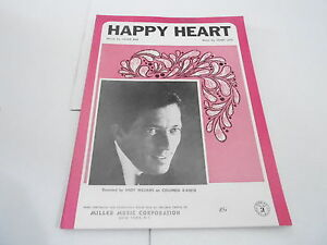 1969 vintage NOS sheet music - HAPPY HEART - ANDY WILLIAMS