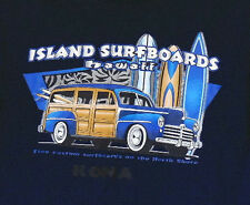 Kona Hawaii North Shore Island Surfboards Woody Wagon Navy Blue T-Shirt S