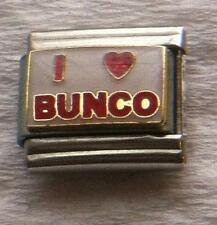 """I LOVE BUNCO""-ON WHITE ITALIAN 9MM CHARM-GAME, DICE, TEAM, NUMBERS"