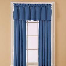 """2- ESSENTIAL HOME 42"""" x 84"""" PANELS & 2- 60"""" x 15.5"""" VALANCES Blue 55% Cotton NEW"""