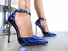 GIOHEL ITALY CUSTOM ANKLE HIGH HEELS PUMPS SCHUHE DECOLTE LEATHER BLUE BLU 42