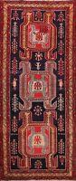 Vintage Tribal Ardebil Geometric Hand-knotted Runner Rug Classic Oriental 4'x10'