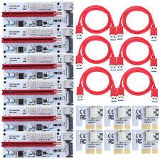 10PCS PCI-E Riser 1X to 16X USB3.0 Graphics Mining Extension Adapter Card 008S