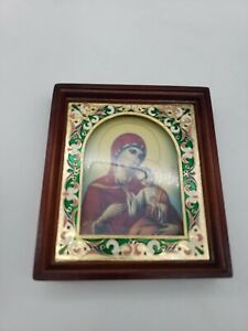 vintage Italian Madonna child Mother Mary Baby Jesus gold wood frame glass