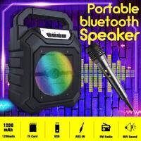 1200mAh Portable Mini bluetooth Speaker Subwoofer Heavy Bass USB TF FM Radio
