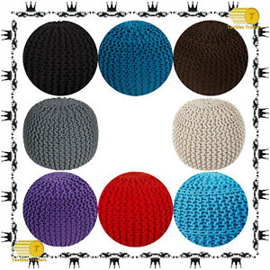NEW 100% Cotton Large Knitted Pouffe & Footstool Round Large Chunky Moroccan