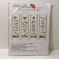 "From My Garden Bookmarks Cross Stitch Kit Sandi Phelps 8"" x 2"" Set of 4"