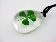 100pc lots shamrock mini green real four leaf clover chic sexy ice drop pendant