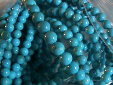 24 Turquoise Beads 4 MM Good Color All Through Not Sure Origin Take a Look See