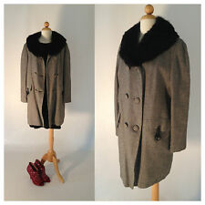 Vintage 60s 70s Coat Fur Collar Black Gray Tweed Double Breasted Size M