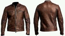 Mens Cafe Racer Brown Vintage Quilted Biker Leather Jacket