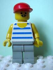 LEGO Minifig par047 @@ Horizontal Blue/White Stripes, Red Cap 6597