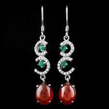 LOVELY RED CHALCEDONY & FLAWLESS CREATED DIAMOND 925 STERLING SILVER EARRING