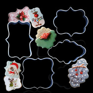 4x Plaque Frame Border Stainless Cookies Cutter Fondant Cake Biscuit Pastry Mold