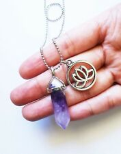 Amethyst Point Necklace Lotus Flower Charm Pendant Crystal Silver Boho NEW