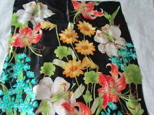 "35"" Sq Echo Silk Scarf Black Green Yellow Aqua Floral Abstract Vintage Retro"