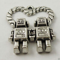 22pcs Vintage Alloy Silver Love Heart Robot Charms pendant New nice 37306