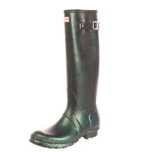 RRP €115 HUNTER Wellington Boots Size 39 UK 6 US 8 Green Coated Glitter Panel