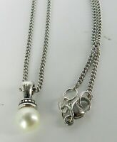 """JAMES AVERY SIGNED Sterling Silver CHAIN NECKLACE AND PEARL PENDANT 18"""" LONG"""