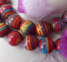6mm Red Striped Turkey Turquoise Gems Loose Beads 15''