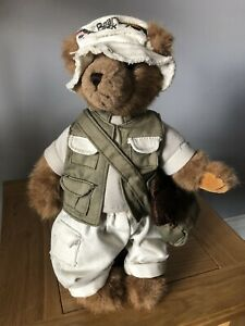 Bear Dressed As Fisherman By Bear Creek. Soft Toy Fish In His Bag.  Adorable.