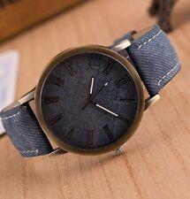 Reloj de Pulsera para Hombre de Acero Inoxidable Cuero de Vaquero Analógico Azul