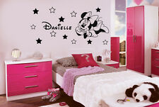 DISNEY MINNIE MOUSE PERSONALISED WALL ART STICKERS NAME+12 STARS Size 140x70cm