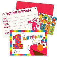 Sesame Street 1st Birthday Elmo Turns One Invitations W Envelopes 8ct