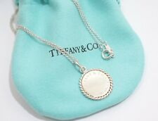 """Tiffany & Co. Sterling Silver Twist Circle Round Pendant Necklace 16"""""""