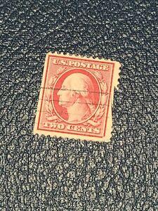 Vintage Old RARE US GEORGE WASHINGTON 2c Red STAMP Line Cancel Used - #2552