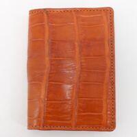 Crocodile Leather Skin Credit Card Holder DOUBLE SIDE Genuine Alligator Orange