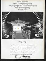 LUFTHANSA GERMAN AIRLINES 1966 WHERE WILL YOU BE NEXT FEW WEEKS HONG KONG AD