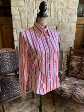 $189 Van Laack Vivian E 36 Women's Pink White Stripe Button Shirt