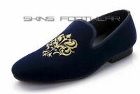 Mocassini ricamati in velluto blu fatti a mano da uomo e scarpe da sera