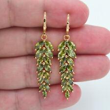 18K Yellow Gold Filled Women Luxury Green Topaz Leaf Dangle Earrings Jewelry