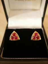 PAIR OF 9 CARAT GOLD FANCY RUBY STUD EARRINGS MADE IN UK BRAND NEW IN BOX LOVELY