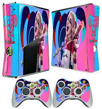 XBOX 360 SLIM STICKER HARLEY QUINN SUICIDE SQUAD 02 PINK SKIN & 2 X PAD SKIN