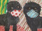 Affenpinscher in Quarantine 13 x 19 Art Print Dog Collectible by Artist KSams