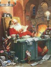 Santa Claus reading mail on Christmas Eve