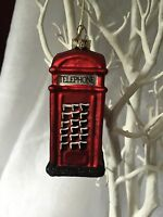 Gisela Graham Painted Red Glass Telephone Box London Christmas Tree Decoration