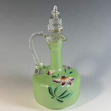 Antique French Enameled Glass Decanter with Stopper