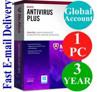 McAfee Antivirus Plus 1 PC / 3 YEAR (Account Subscription) 2019