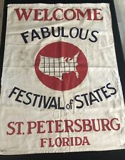 "Antique American ""Festival Of States St Petersburg"" Linen Banner"