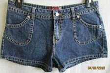 Women Cotton Denim Short Shorts JORDACHE Lowrise Size 11/12 Med Wash Flat Front